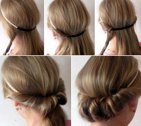Прическа с ободком для волос как сделать 483