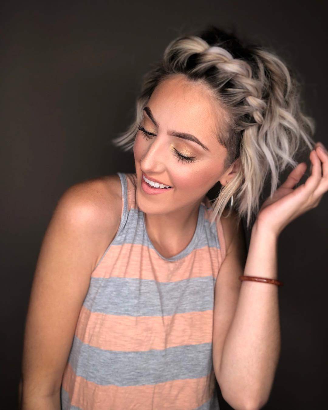 плетёные причёски для коротких волос фото 7