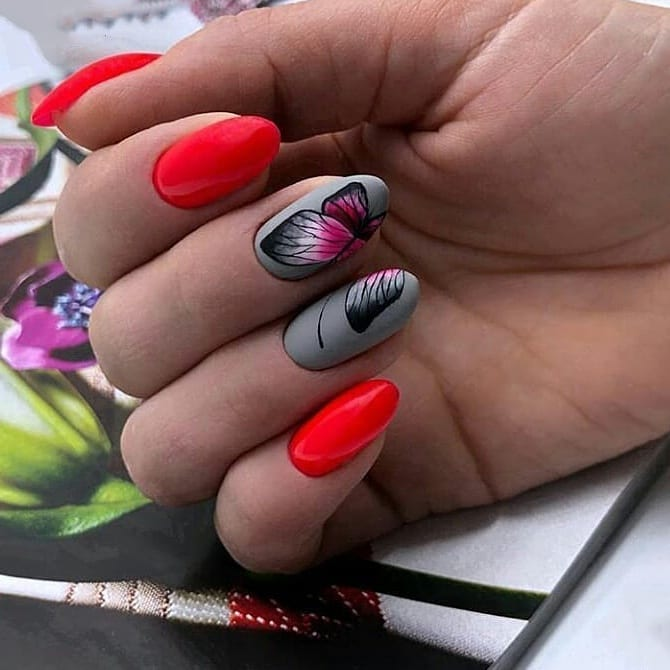 бабочки на ногтях фото_34