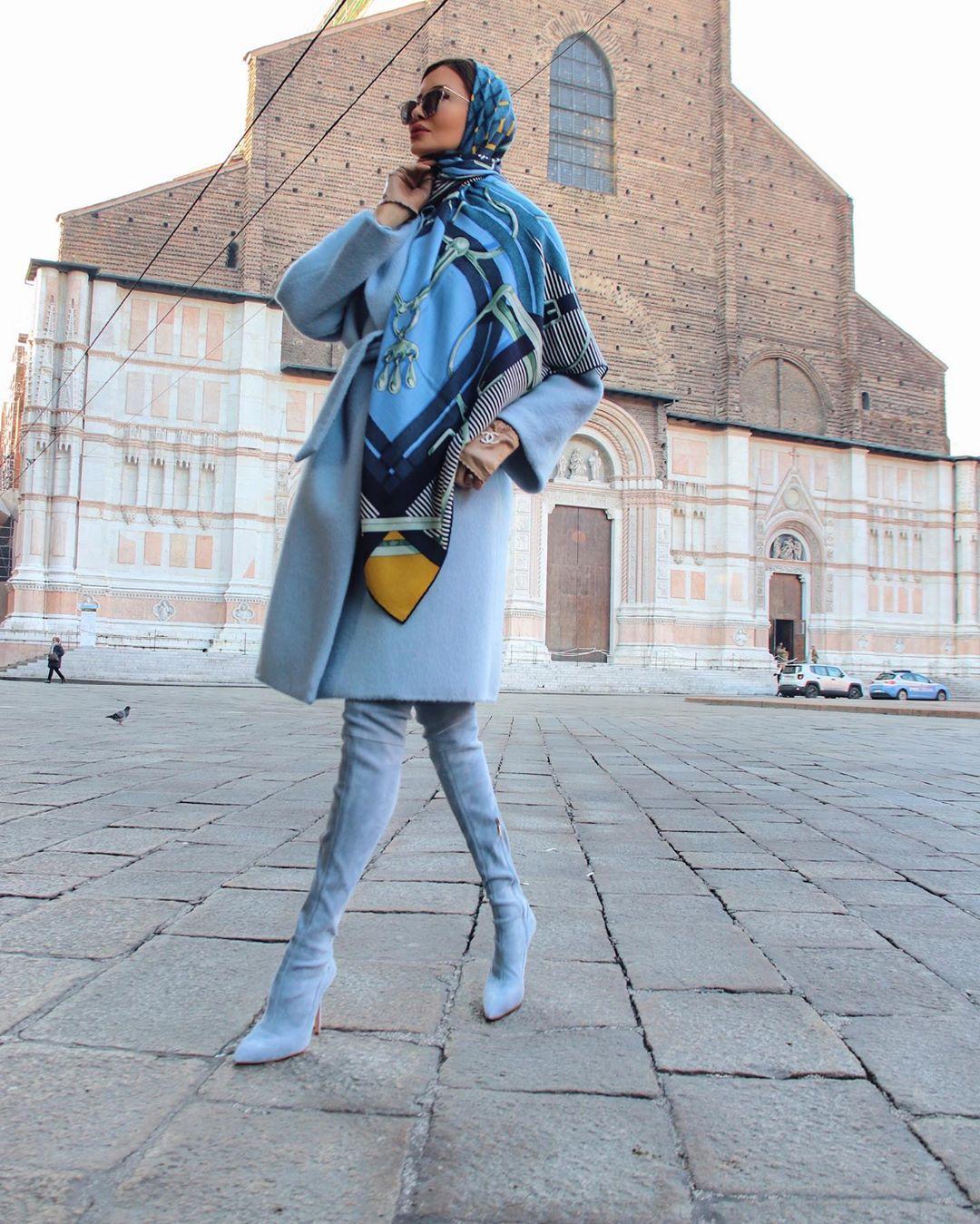 Голубое пальто фото 5