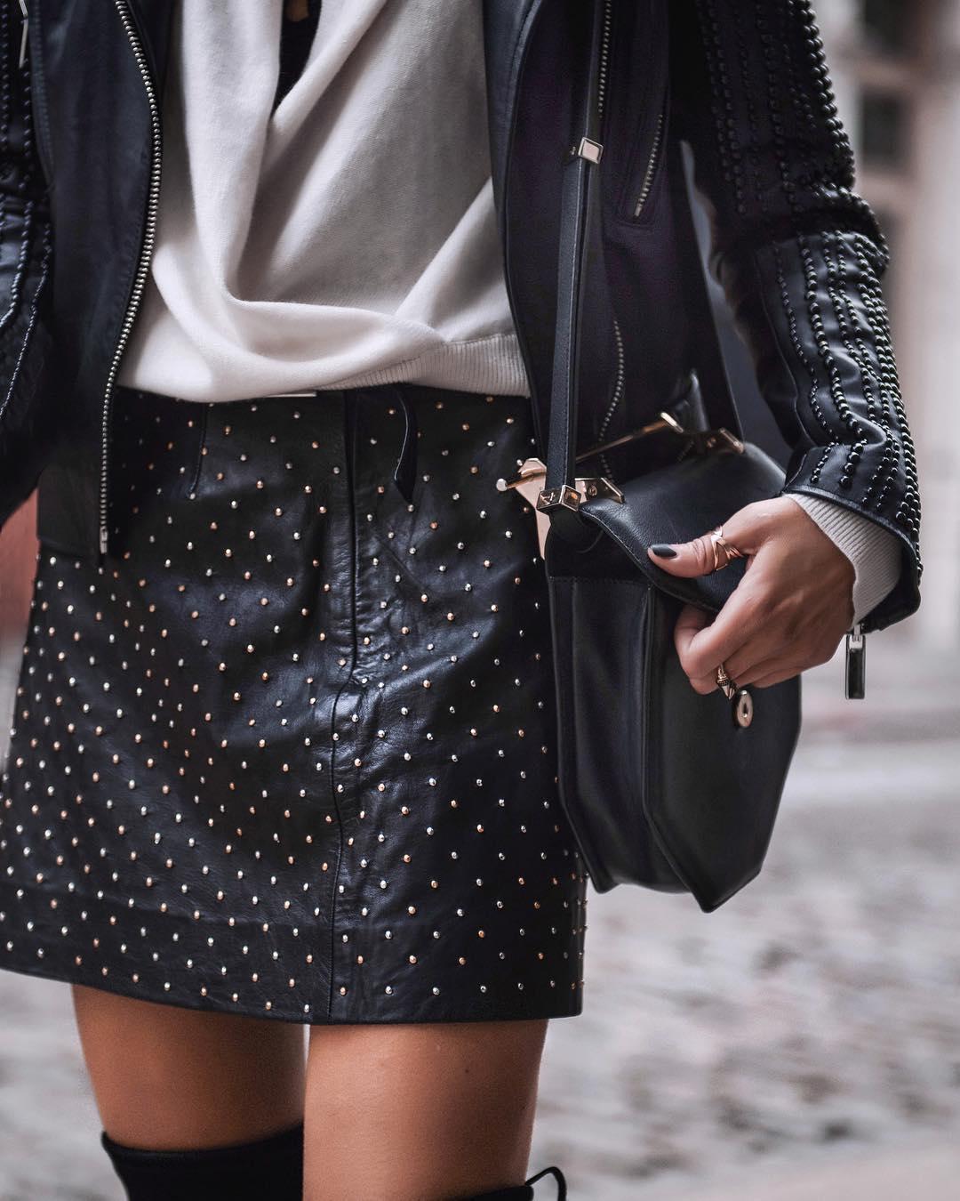 черная кожаная юбка фото 2