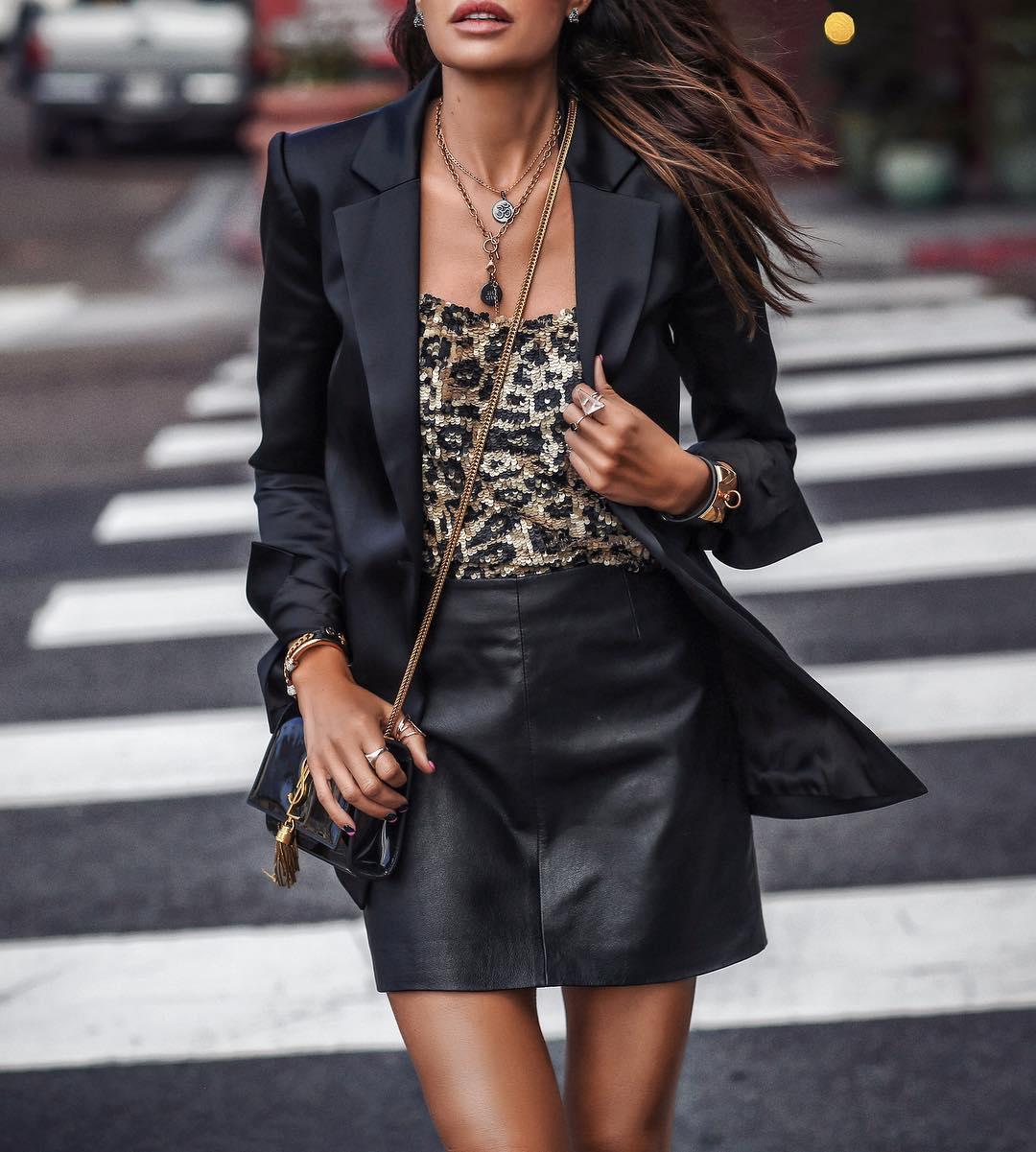 черная кожаная юбка фото 4