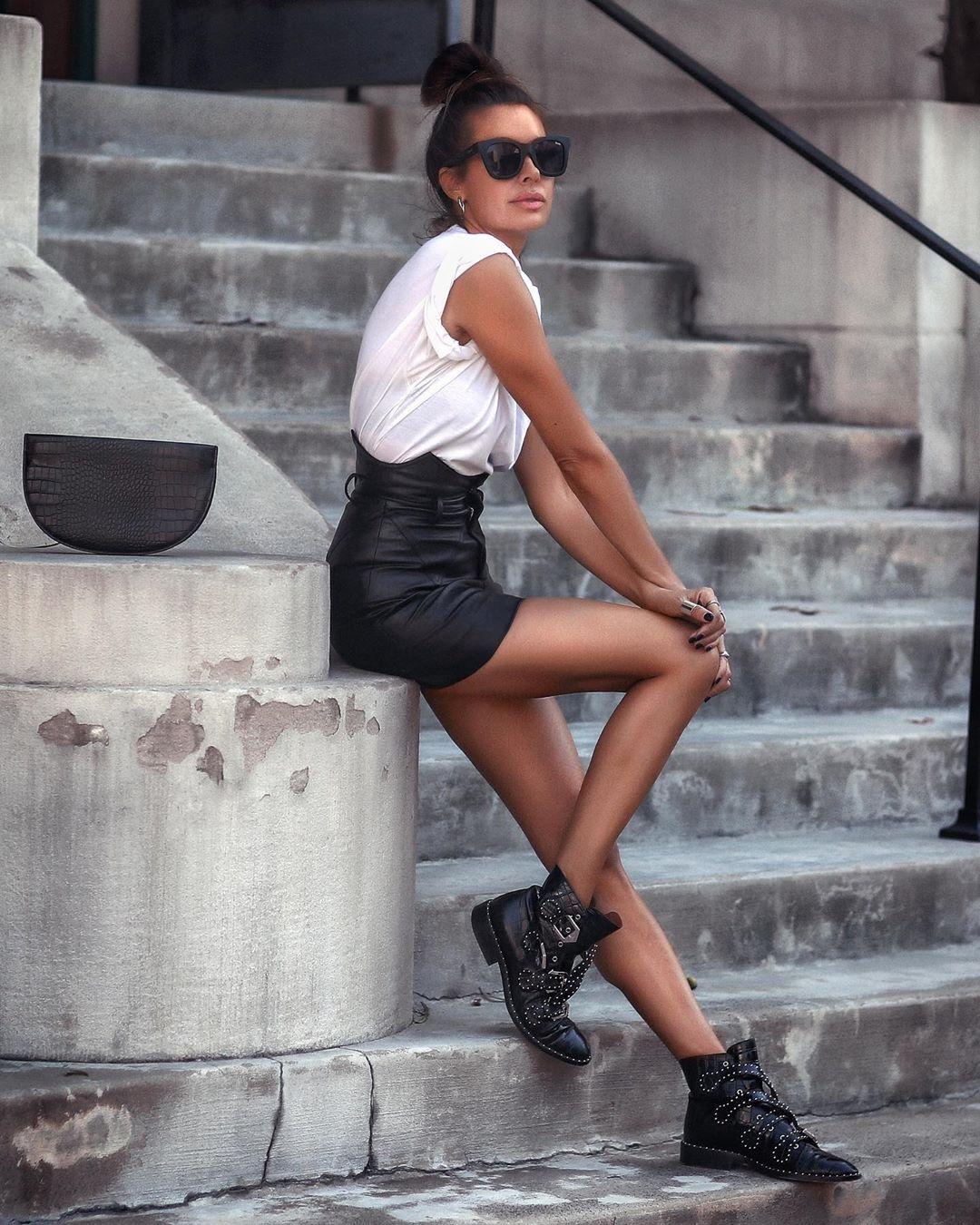 черная кожаная юбка фото 9