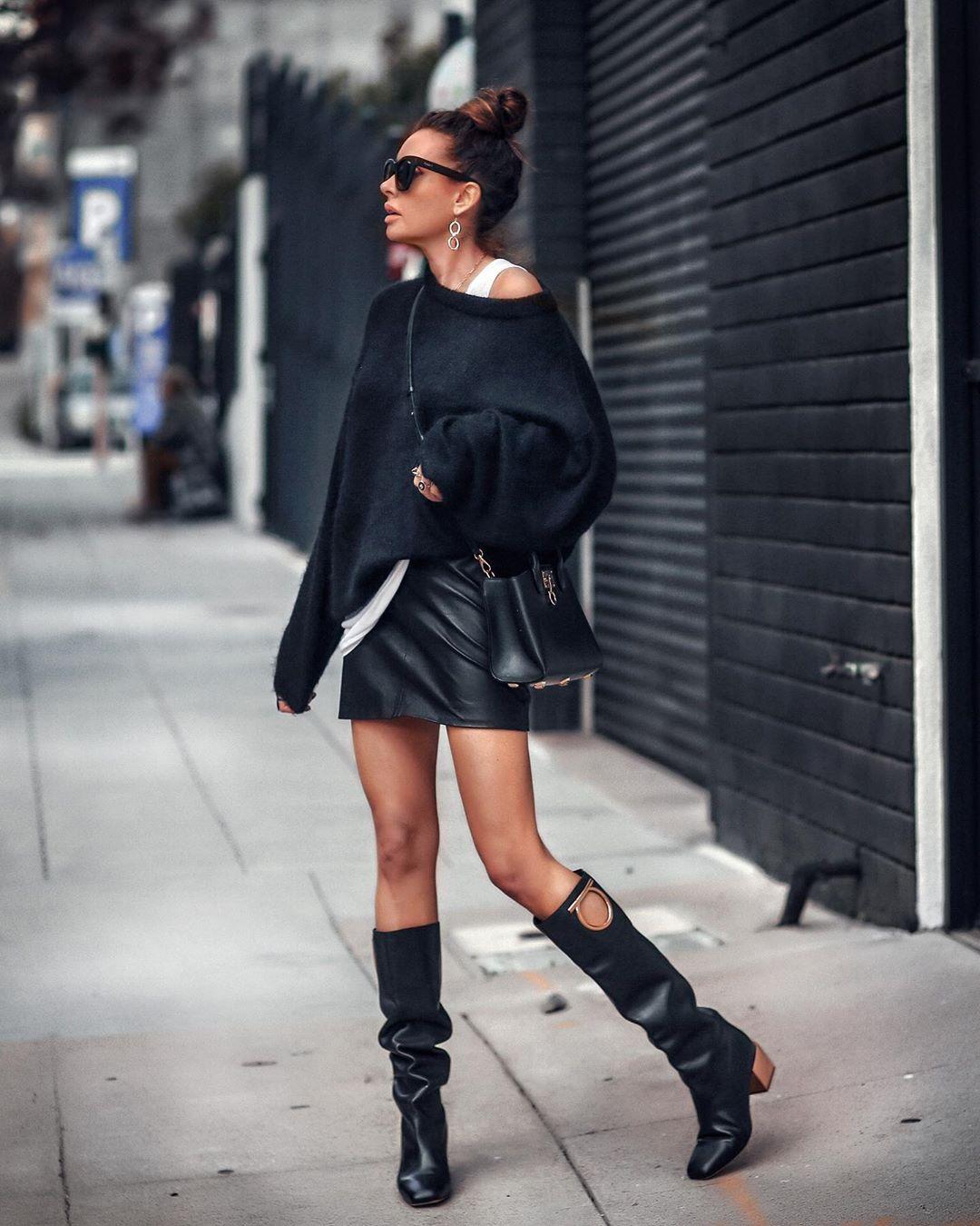 черная кожаная юбка фото 13