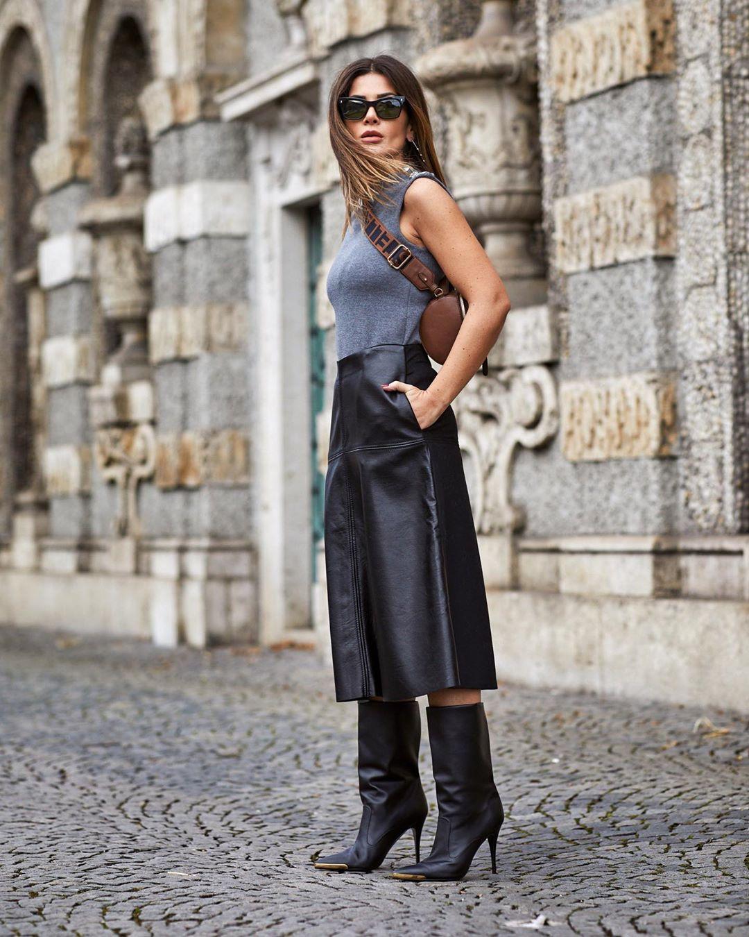 черная кожаная юбка фото 15