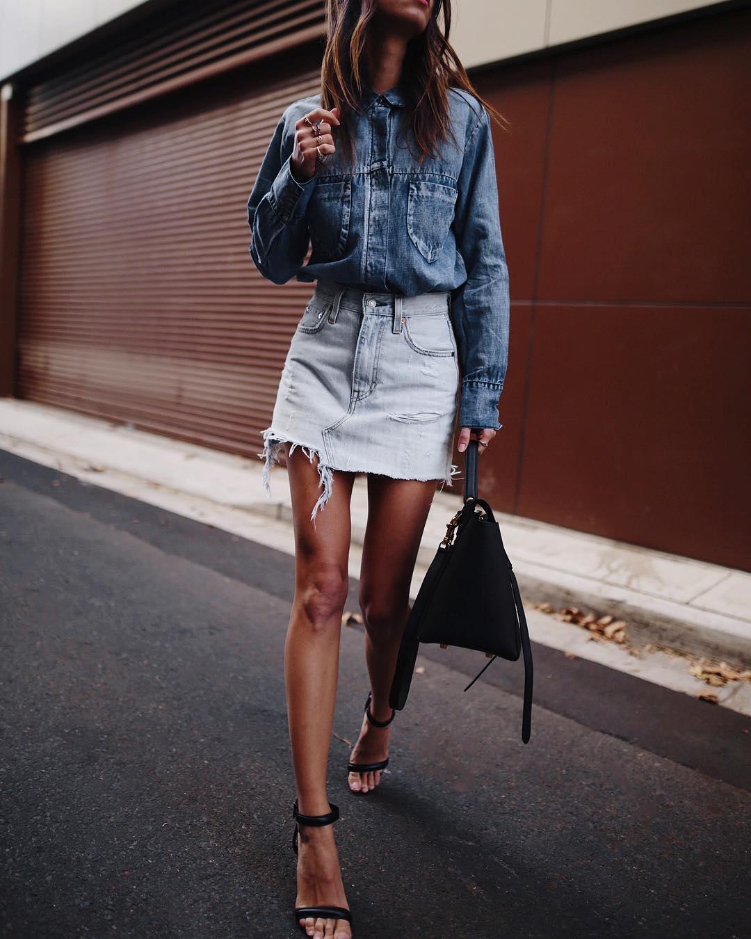 с чем носить джинсовую юбку фото 11