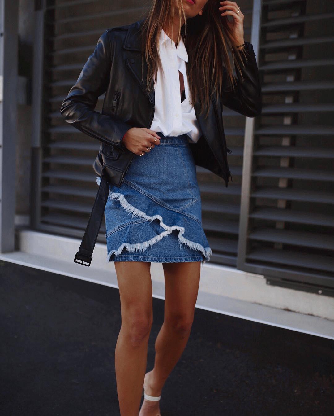 с чем носить джинсовую юбку фото 12