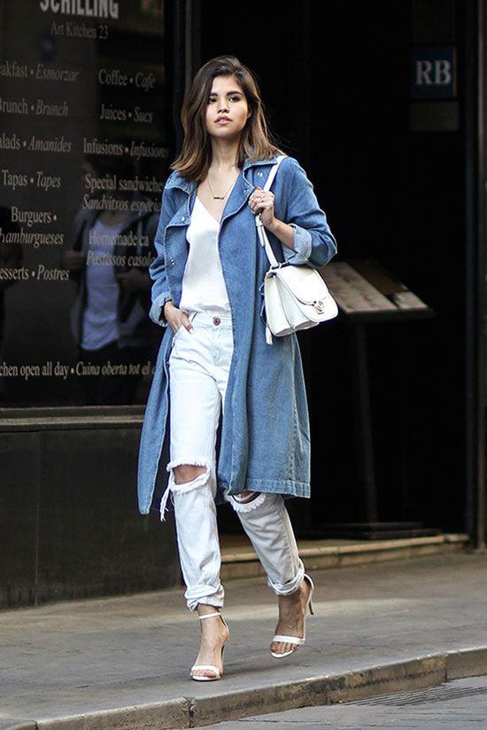 7b5b125ba41 С чем носить стильный джинсовый плащ в 2017  30 сногсшибательных образов