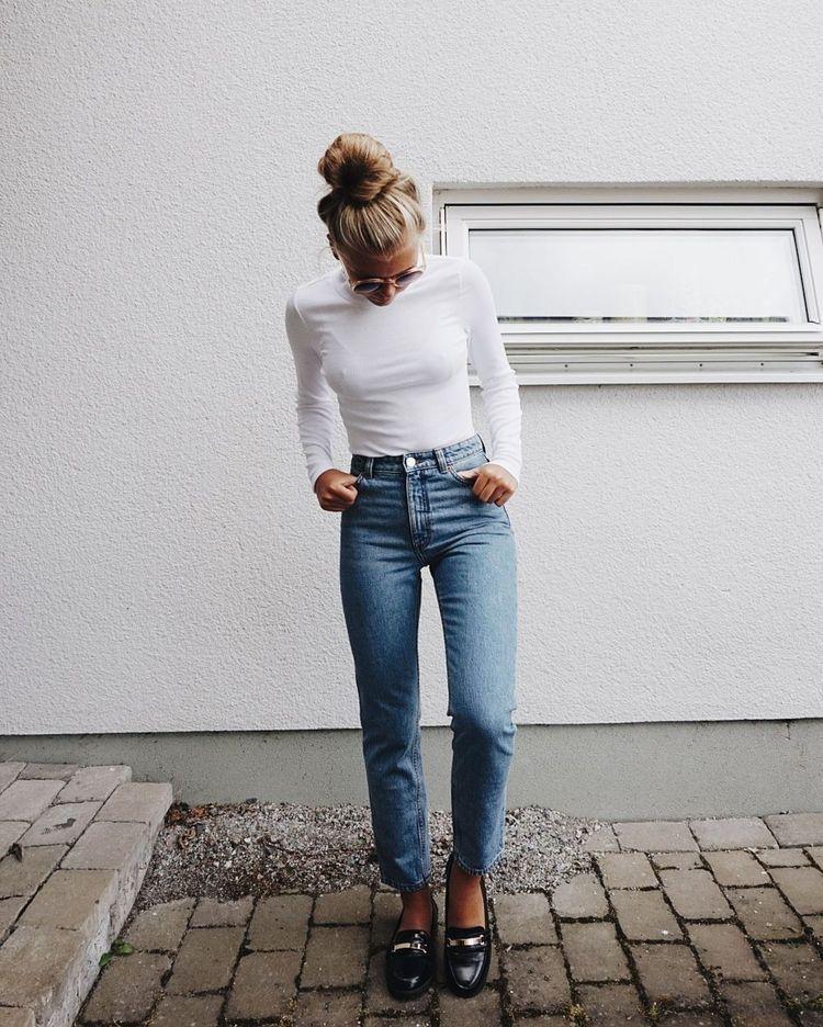 Как носить белую водолазку фото 10
