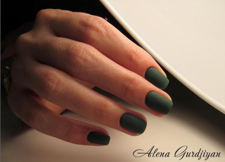 Матовые короткие ногти фото 68