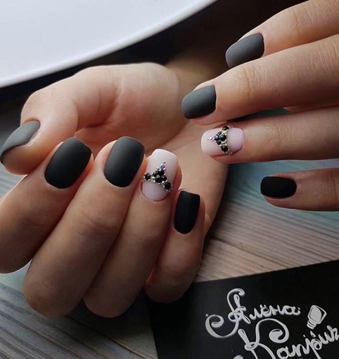 Матовые короткие ногти фото 69