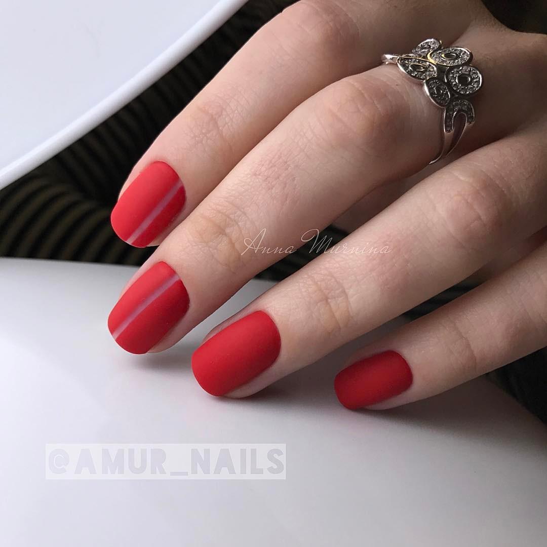 Матовые короткие ногти фото 57