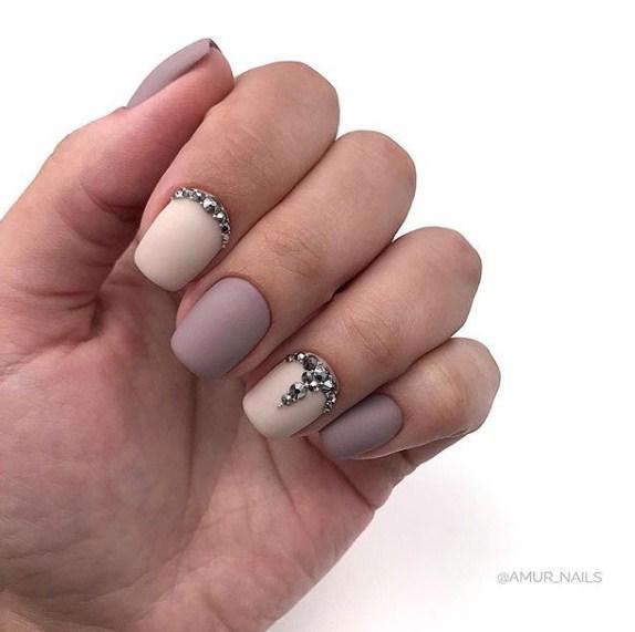 Матовые короткие ногти фото 50