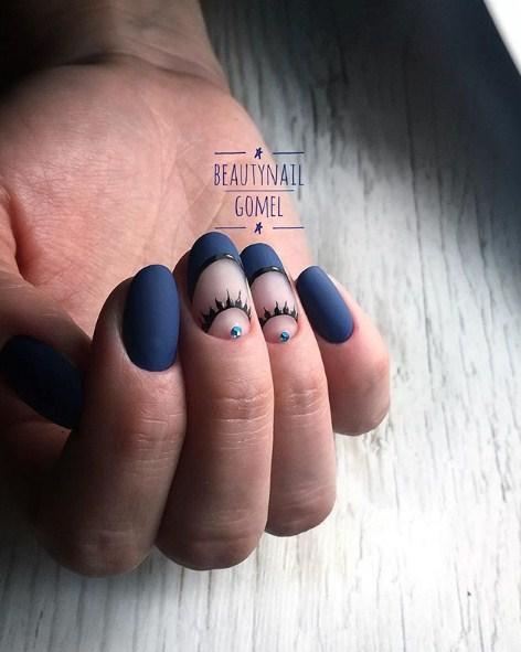 Матовые короткие ногти фото 46