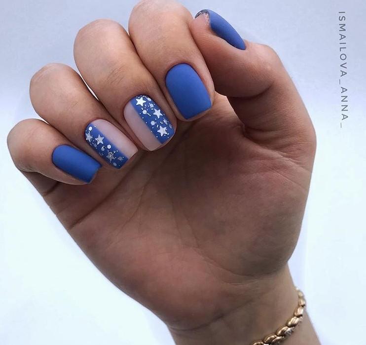 Матовые короткие ногти фото 35