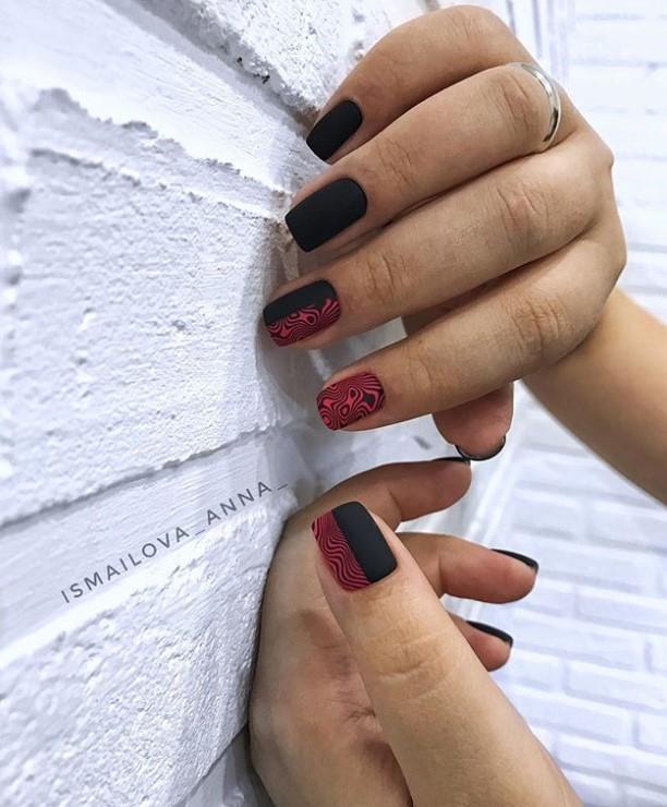 Матовые короткие ногти фото 34