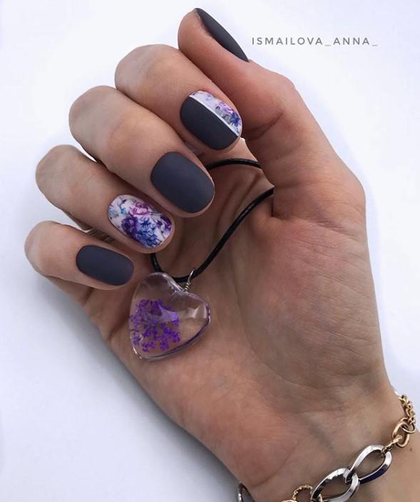 Матовые короткие ногти фото 33