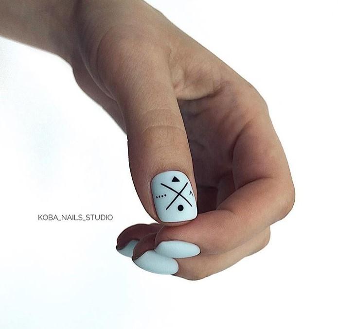 Матовые короткие ногти фото 30
