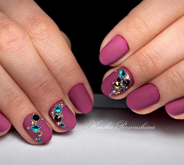Матовые короткие ногти фото 28