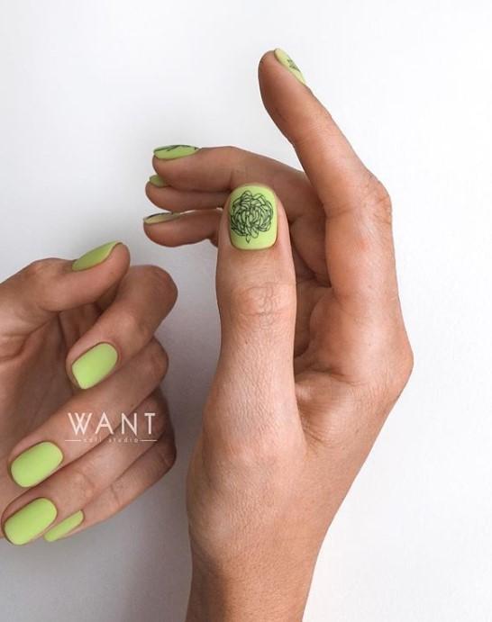 Матовые короткие ногти фото 4