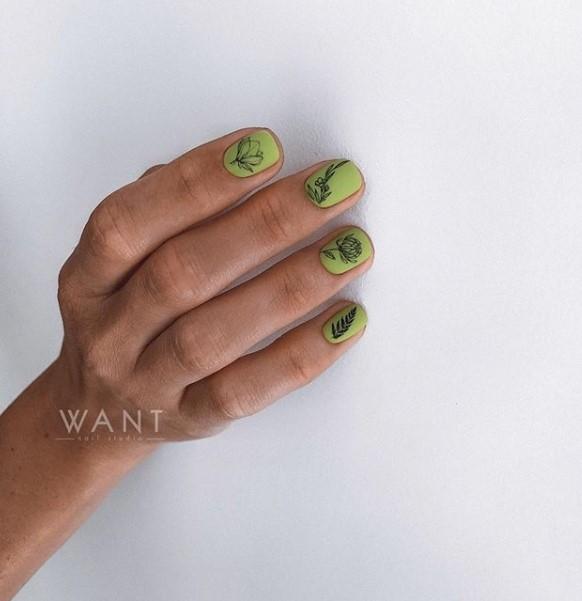 Матовые короткие ногти фото 3