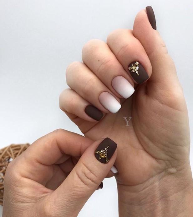 Матовые короткие ногти фото 1