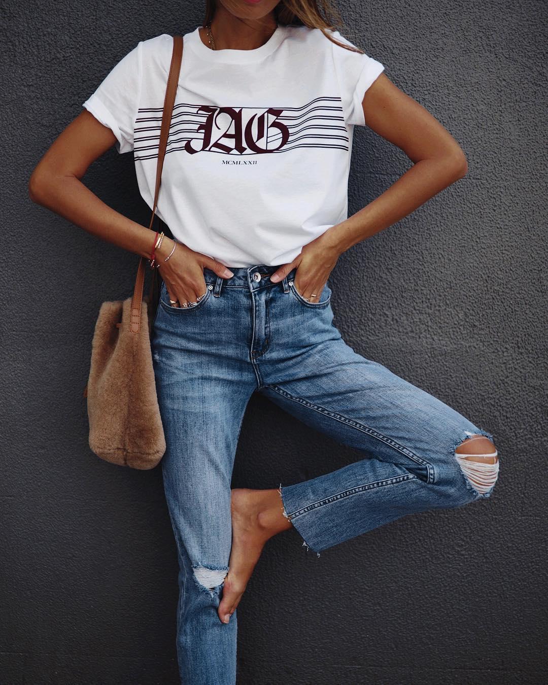 джинсы и футболка фото 12