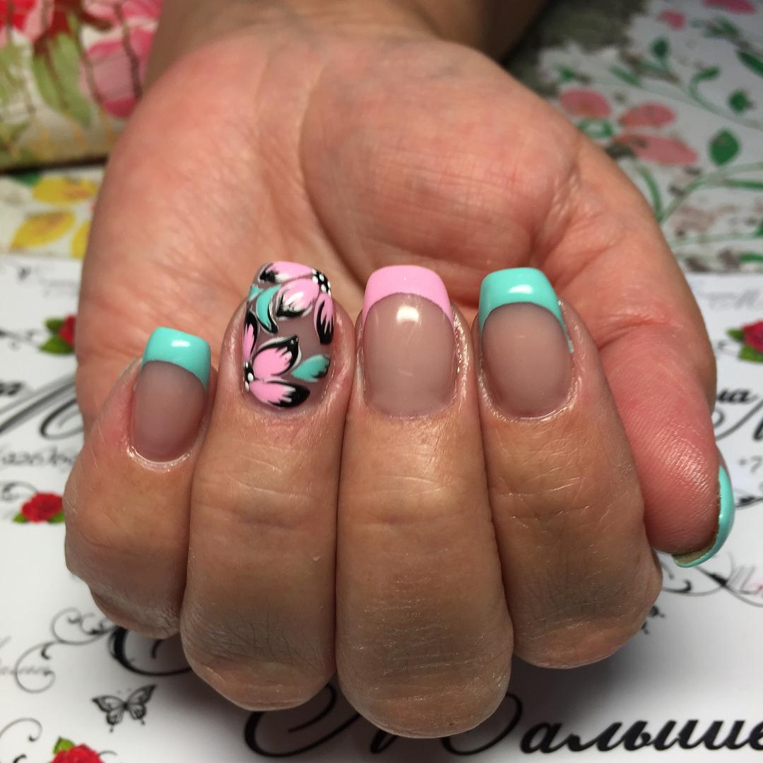 Французский маникюр на короткие ногти_175