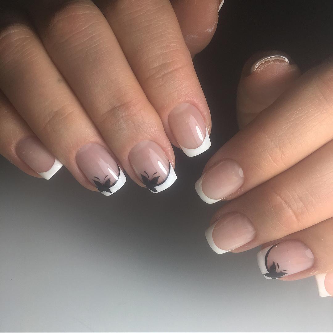 Французский маникюр на короткие ногти_82