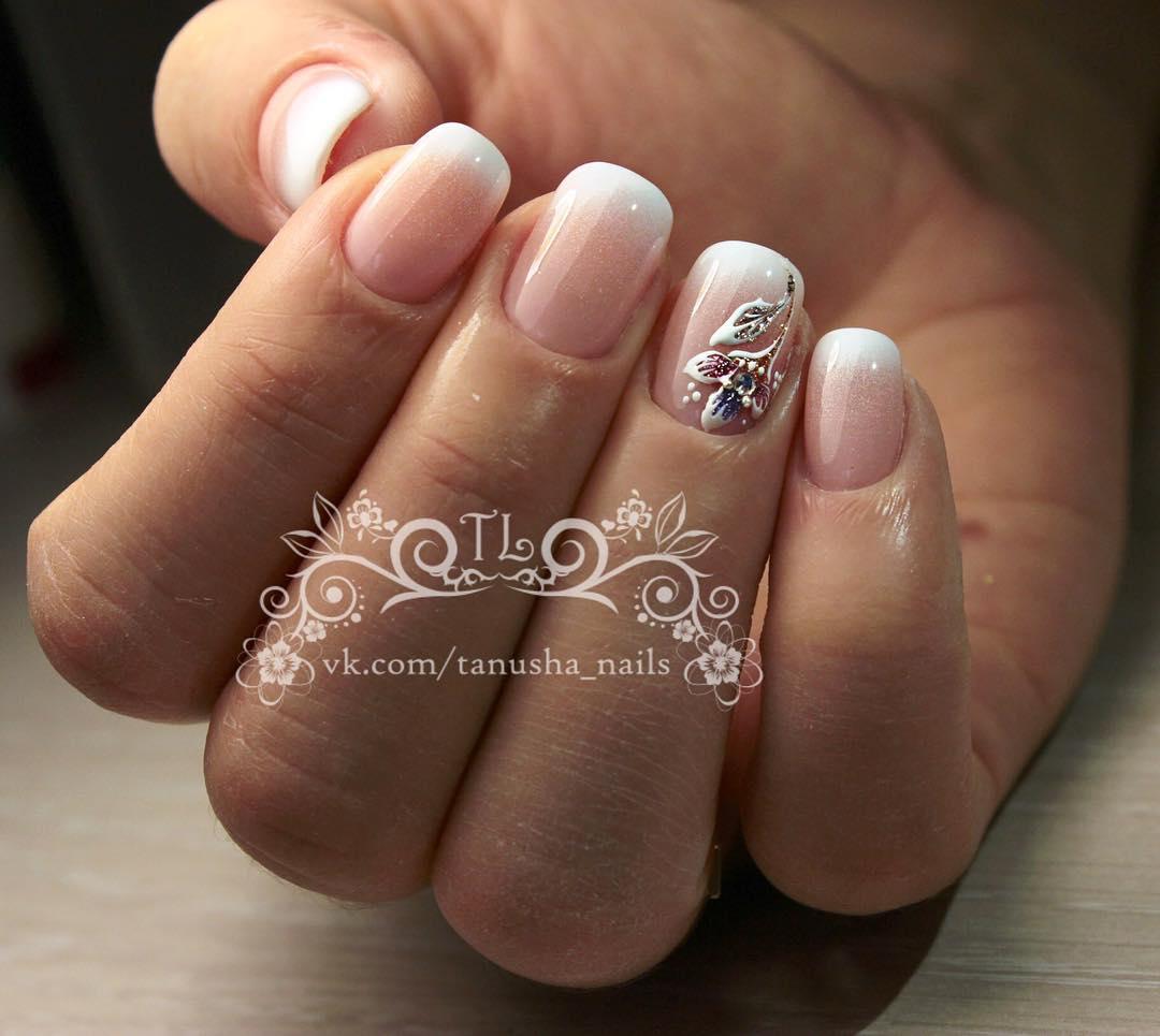 Французский маникюр на короткие ногти_121