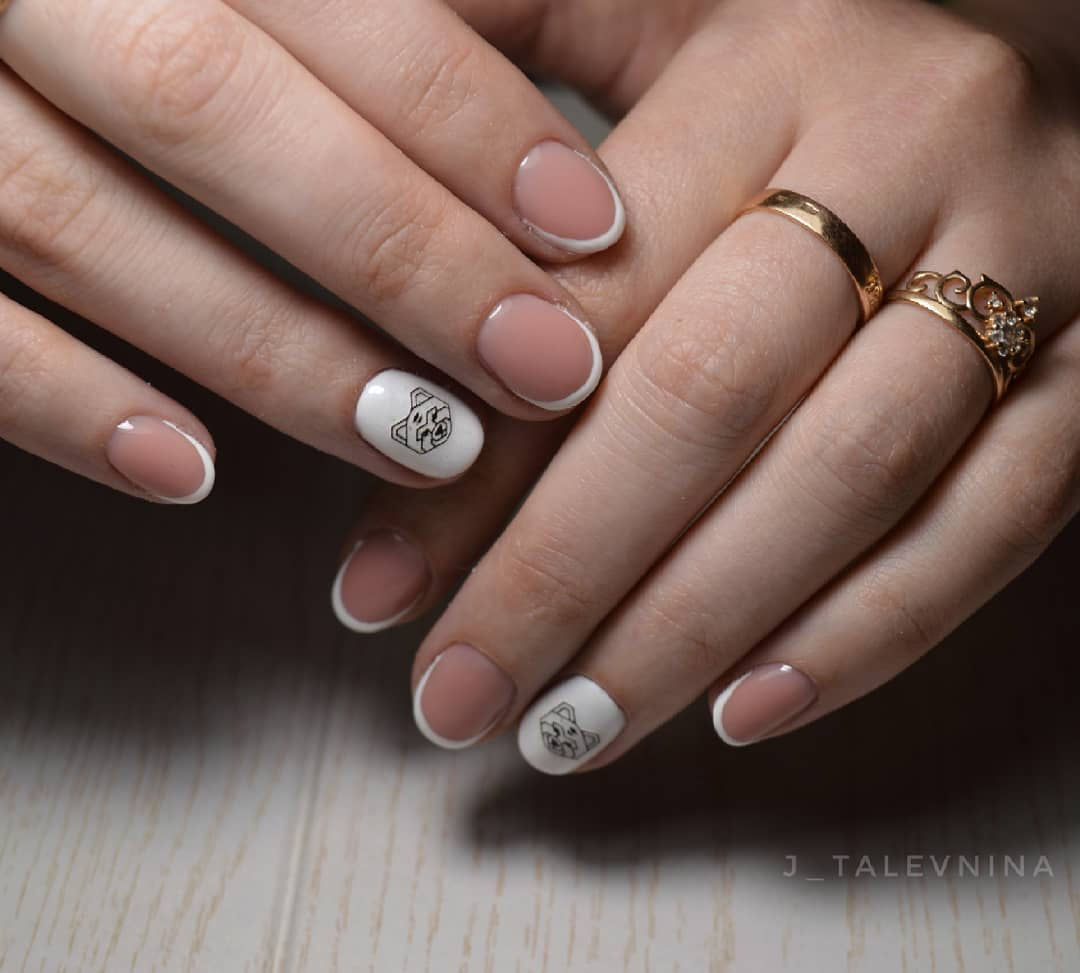 Французский маникюр на короткие ногти_192