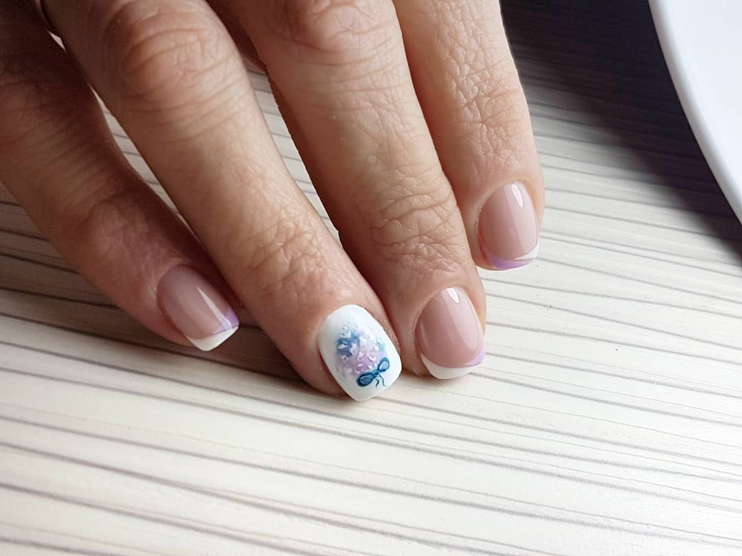 Французский маникюр на короткие ногти_96