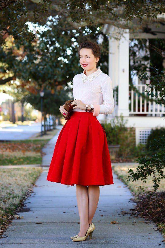 Красная юбка с блузой фото 3