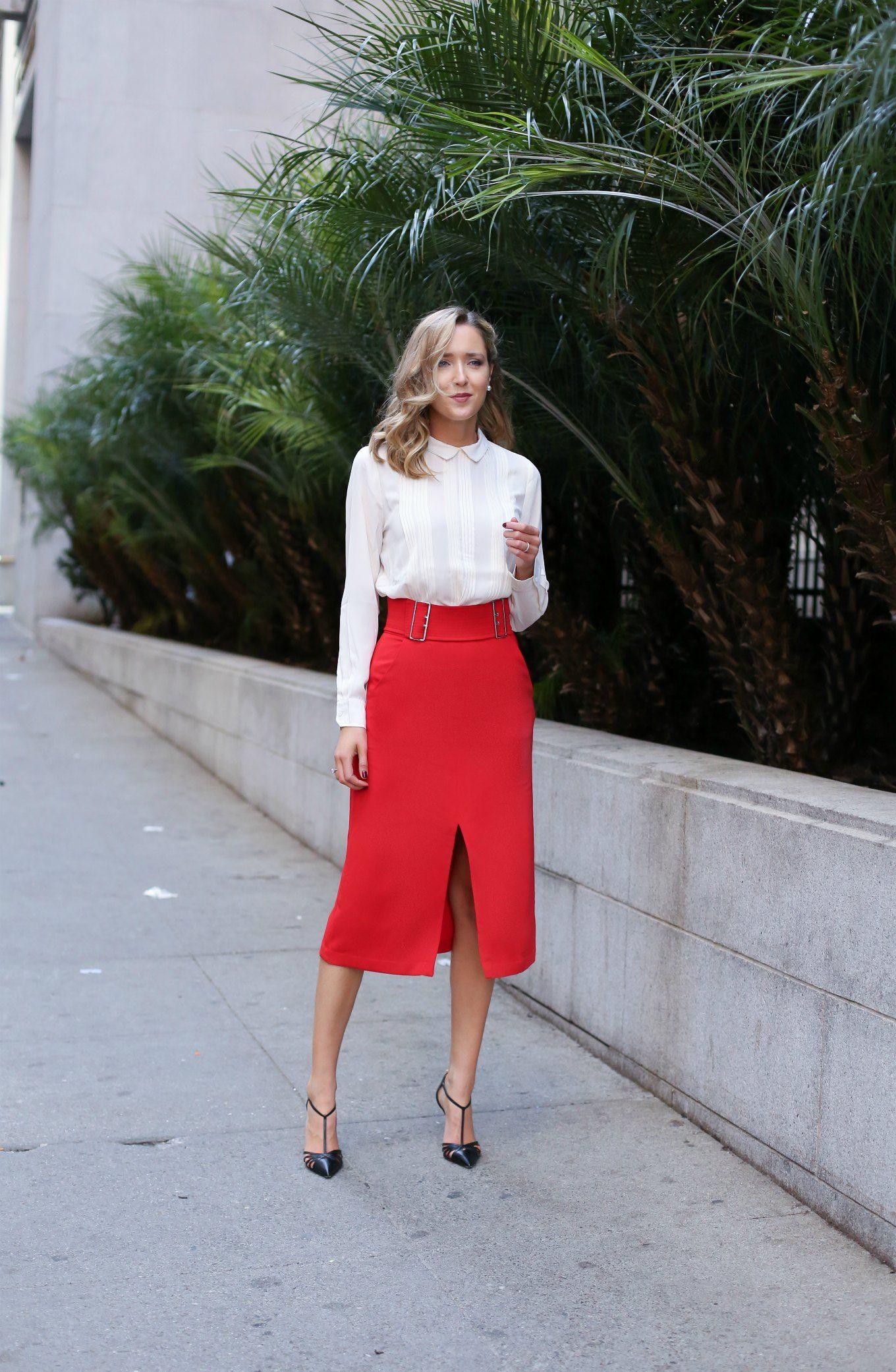 Красная юбка с блузой фото 4