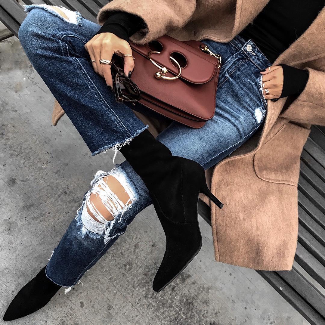 как стильно носить рваные джинсы осенью 2019 фото 1