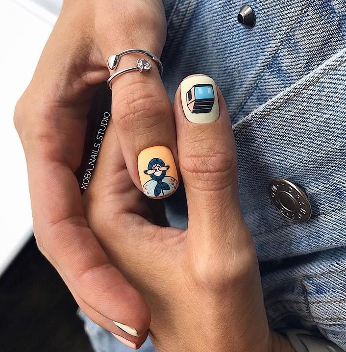 рисунки на коротких ногтях фото 39