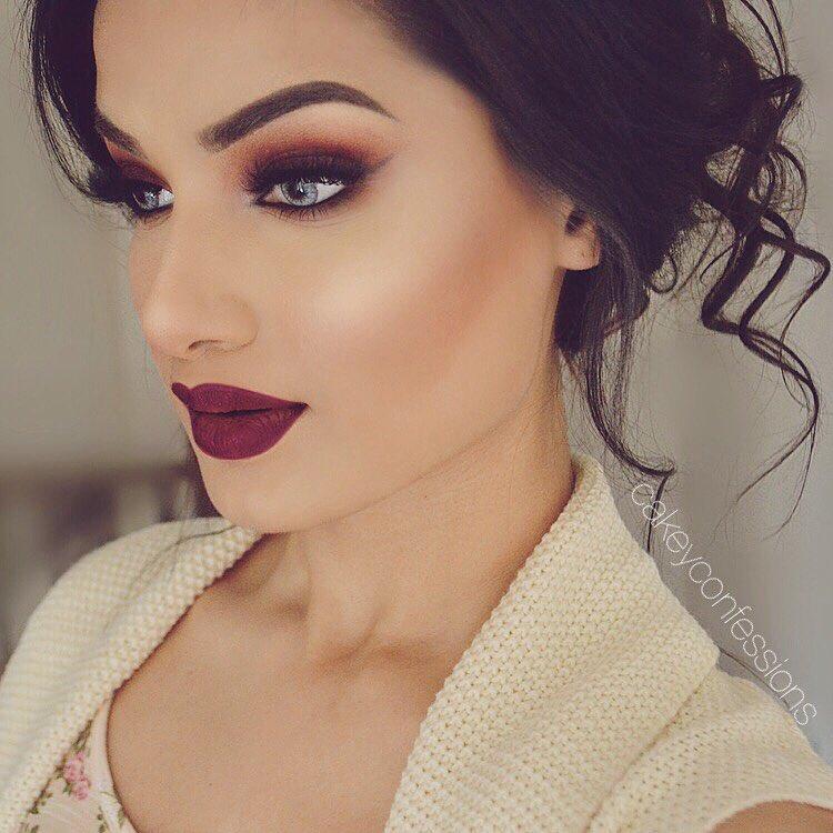бордовый макияж фото 11