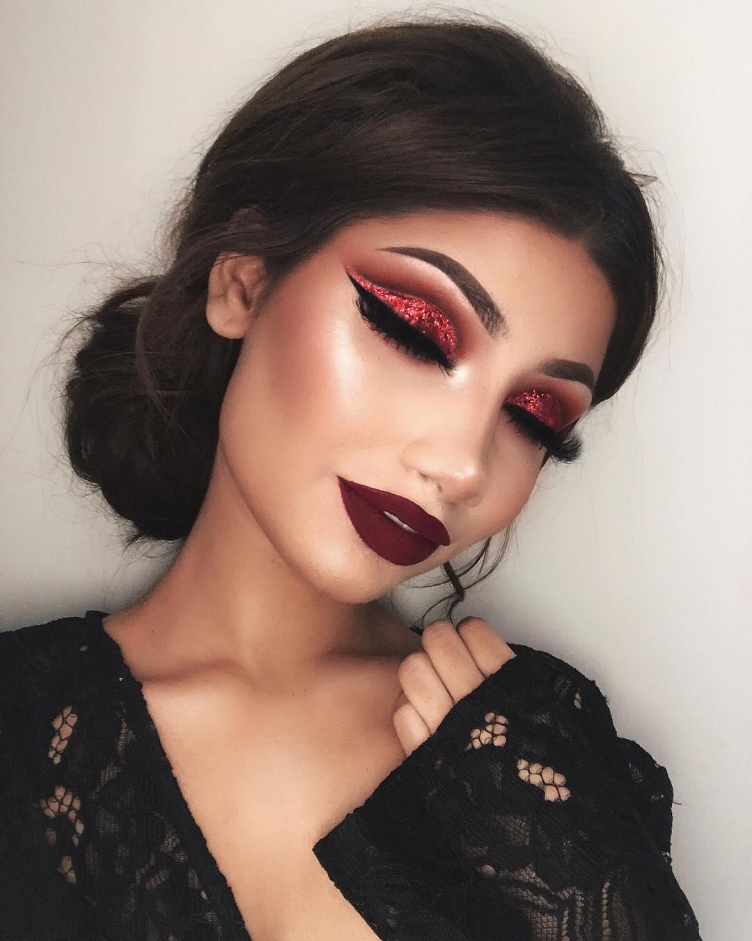 бордовый макияж фото 10