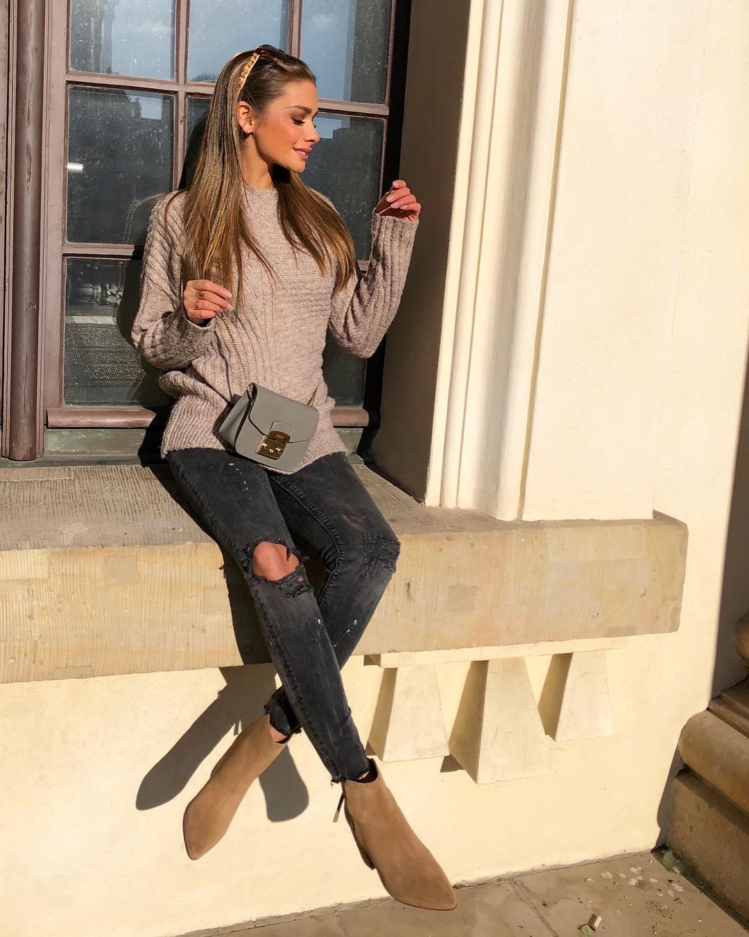 Джинсы с трикотажными вещами как стильно носить осенью и зимой 2018-2019 фото 2