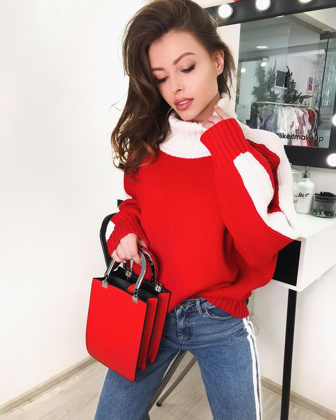 Красный джемпер зима 2019 фото 4