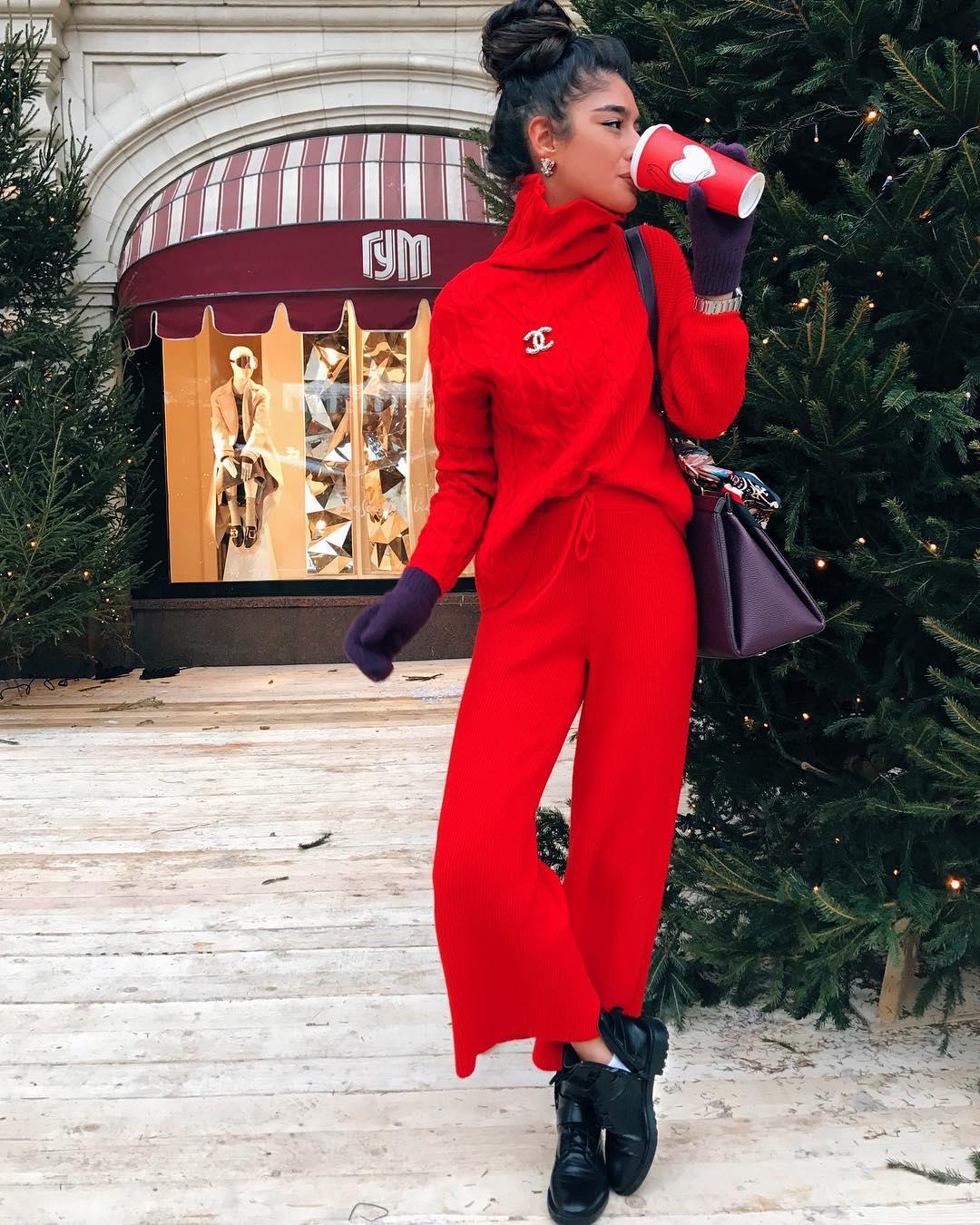 Красный джемпер зима 2019 фото 5