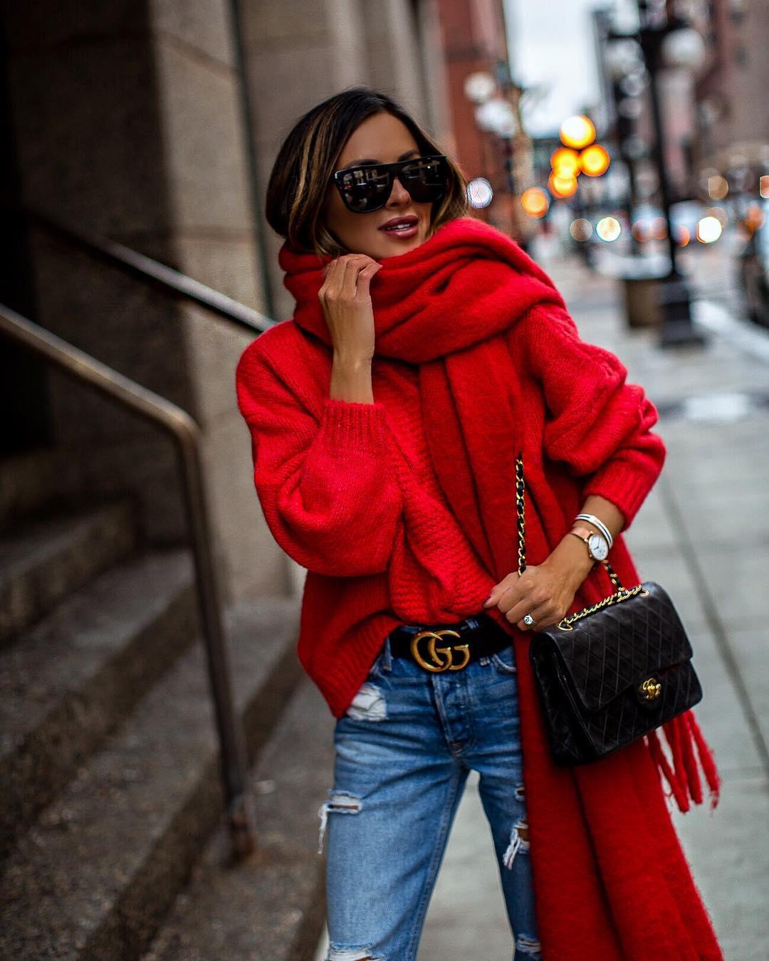 Красный джемпер зима 2019 фото 9