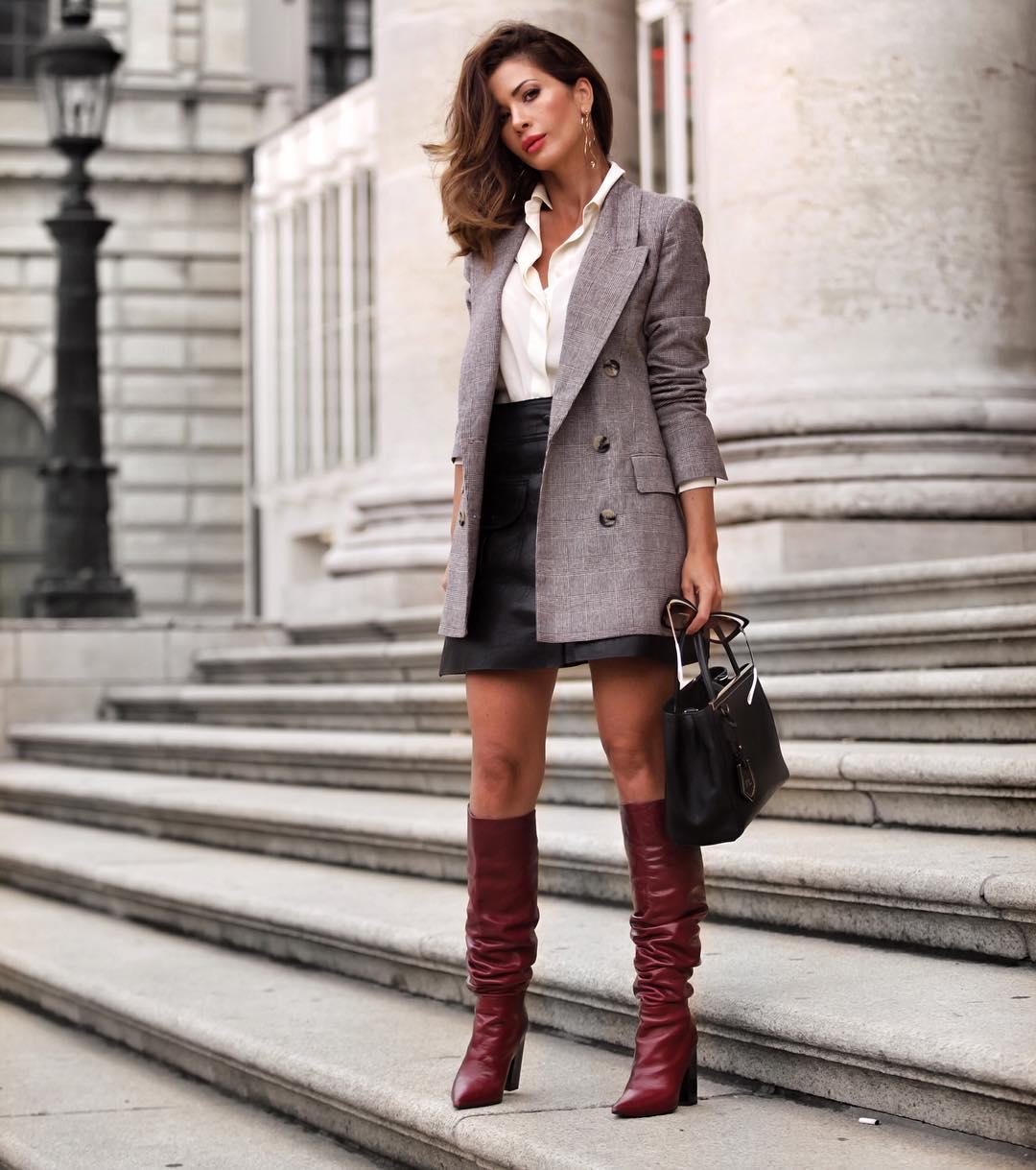 Кожаная юбка с блузкой фото 10