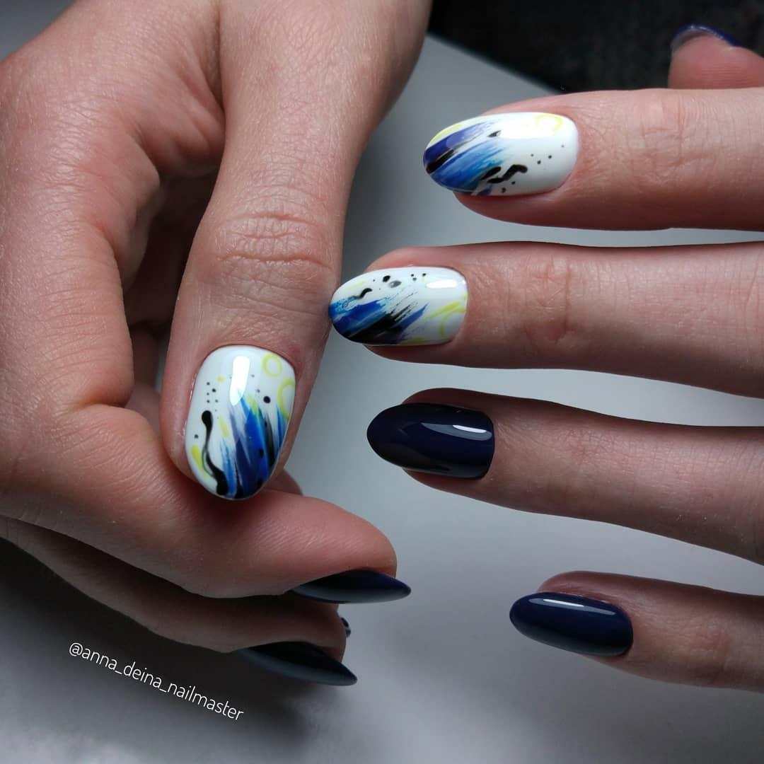 дизайн мазки кистью на ногтях фото_22