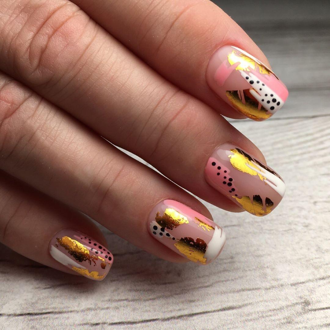 дизайн мазки кистью на ногтях фото_19
