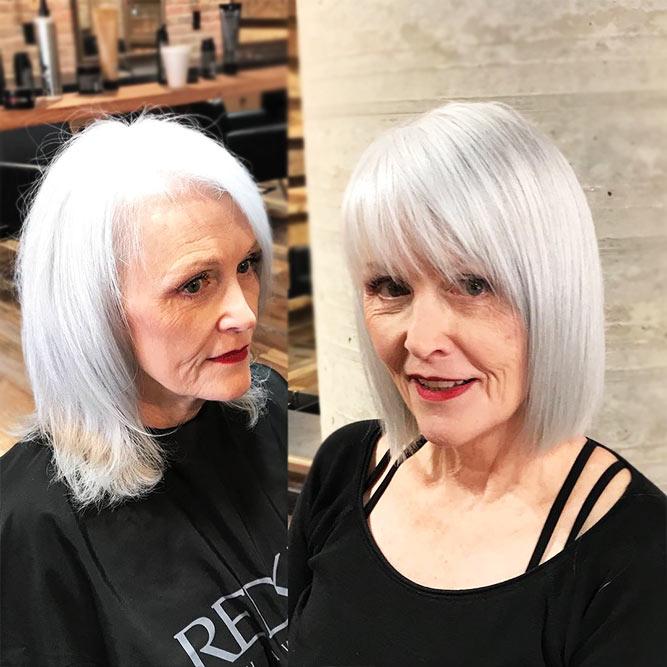 прически с чёлками для пожилых женщин фото 14