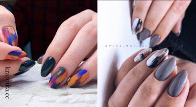 дизайн мазки кистью на ногтях фото