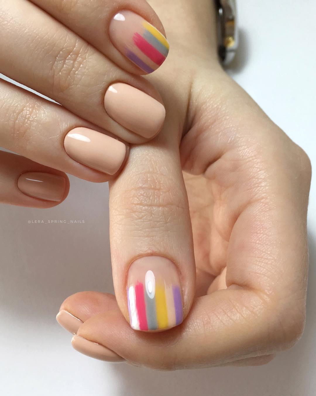 дизайн мазки кистью на ногтях фото_6