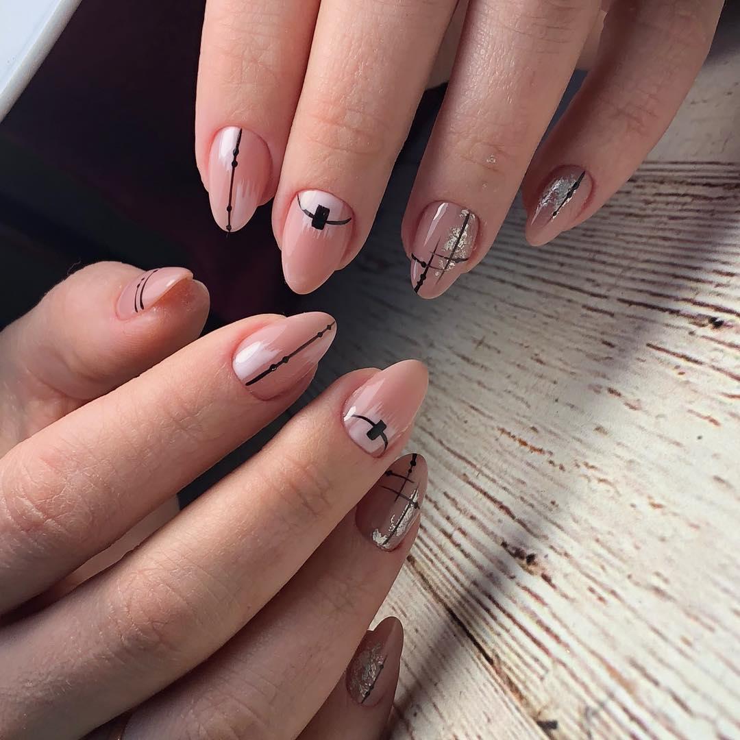 дизайн мазки кистью на ногтях фото_14
