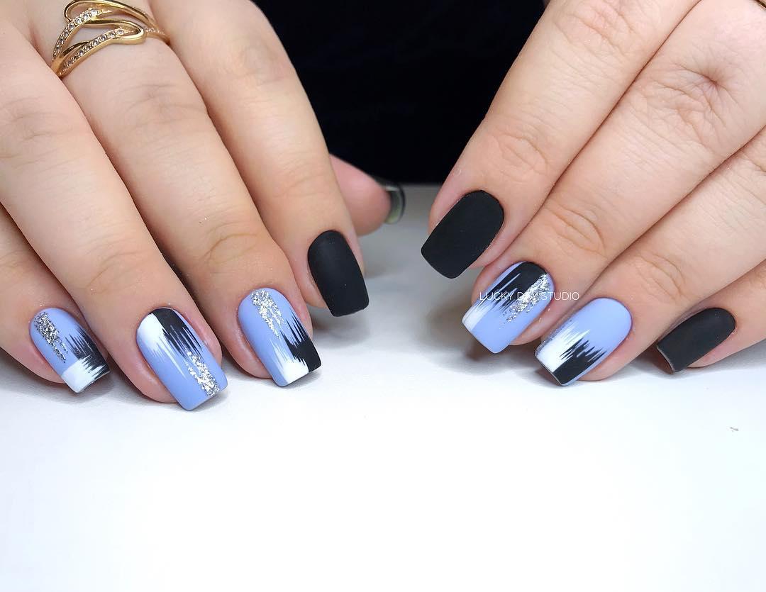 дизайн мазки кистью на ногтях фото_5